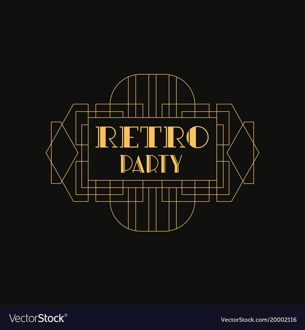 Retro party logo luxury vintage geometric