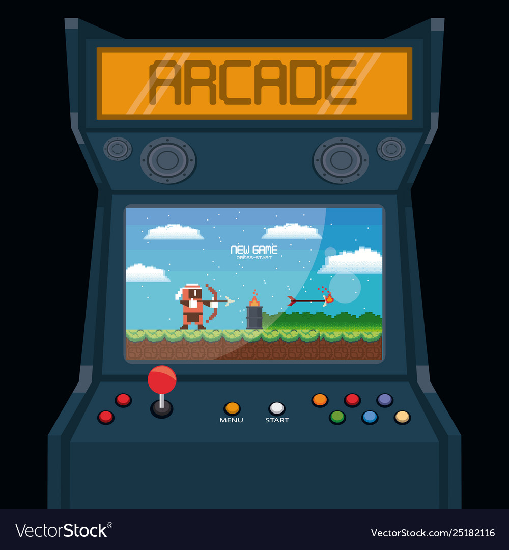 Retro videogame arcade machine card Royalty Free Vector