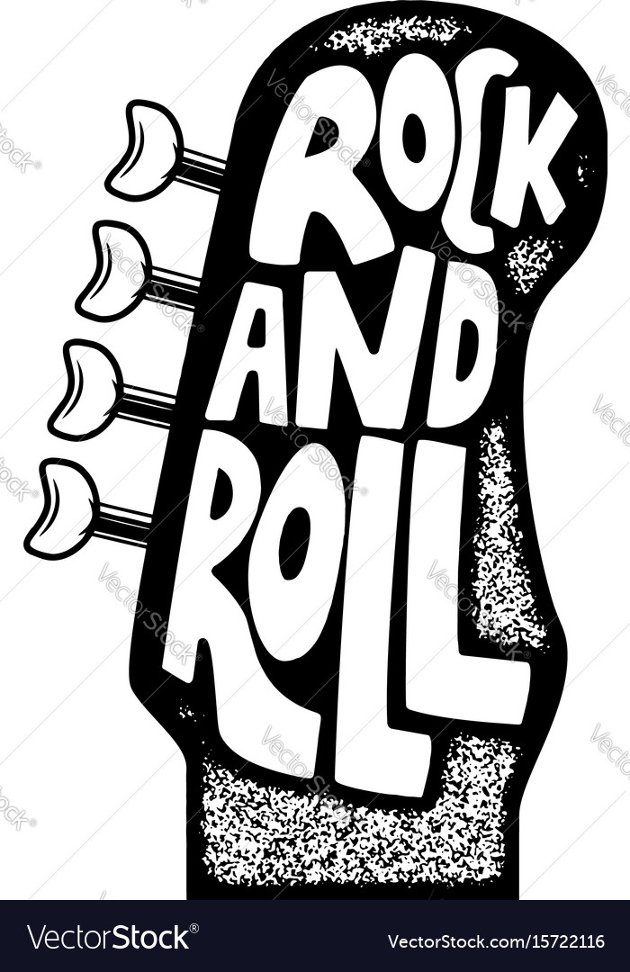 Rock and roll hand drawn phrase on guitar neck