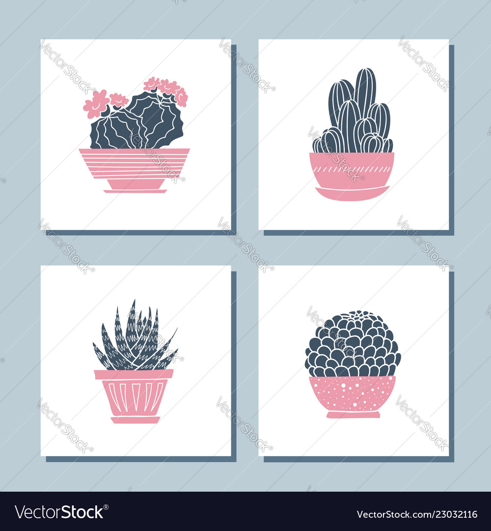 Set of cute hand drawn card templates with cacti