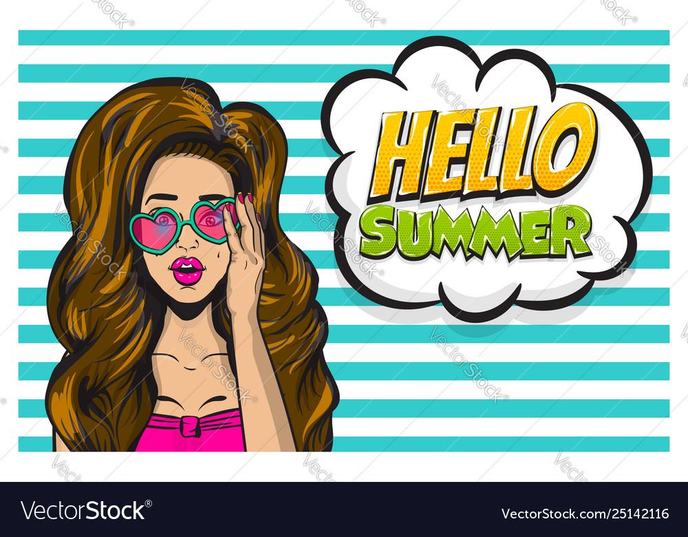 Summer time girl pop art banner