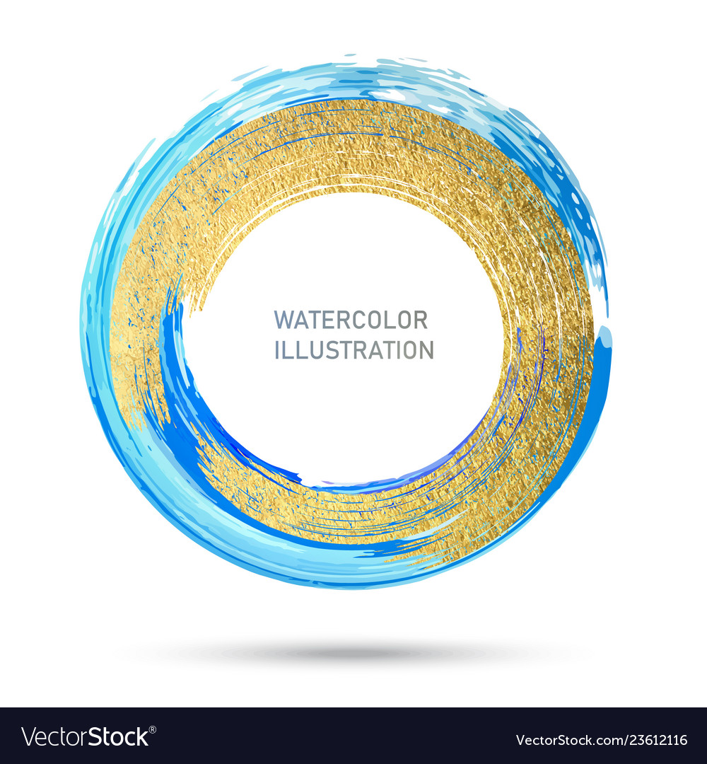 Watercolor color circle texture ink round stroke vector