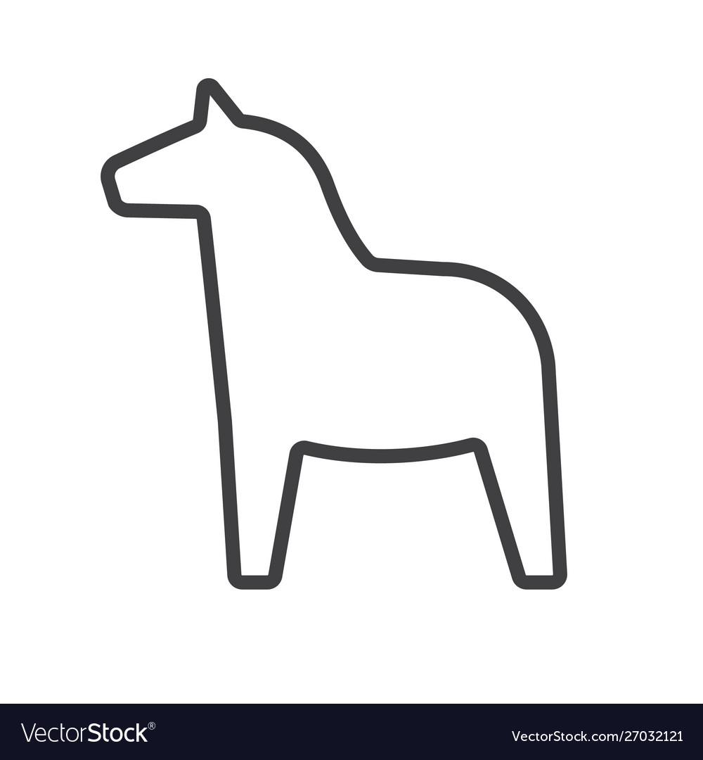 Black Outline Scandinavian Swedish Horse Vector Image