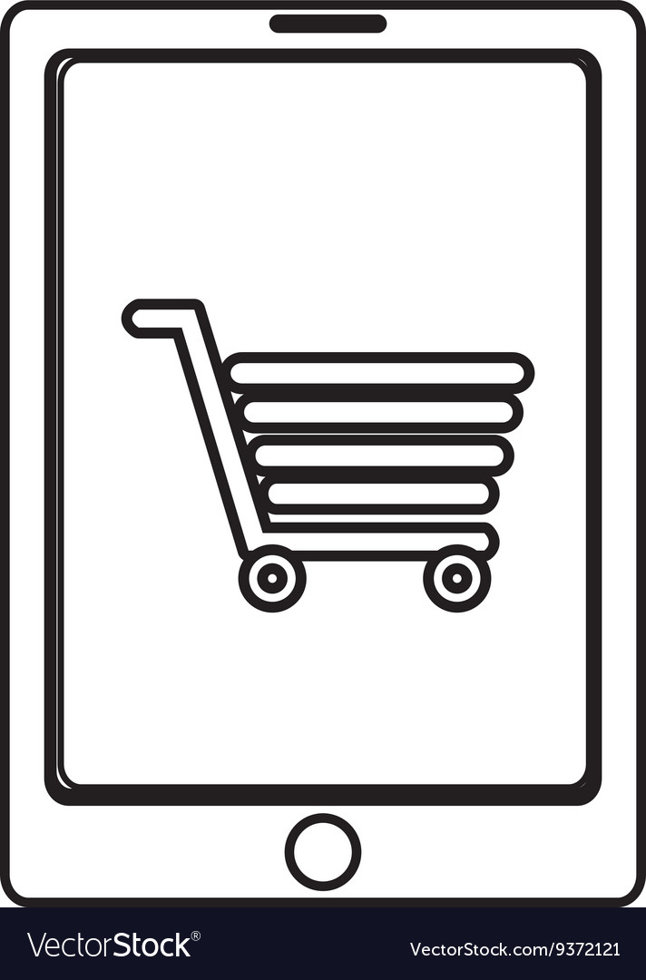 Electronic device with shopping cart on the screen vector image