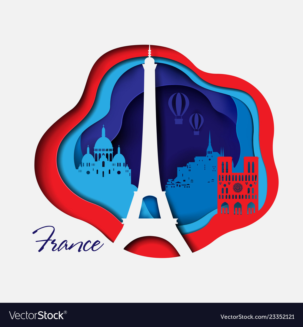 France 3d paper cut background abstract shapes