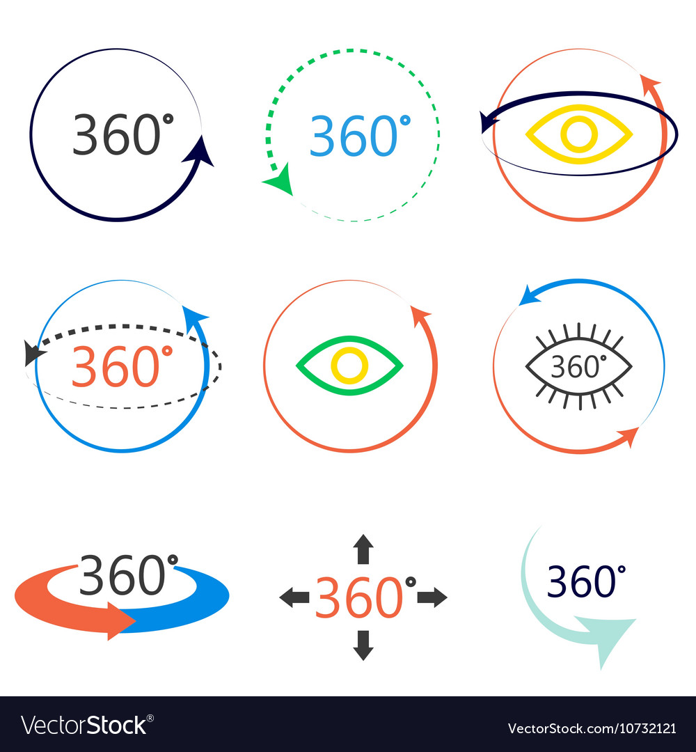 Full 360 degrees angle view icons vector image