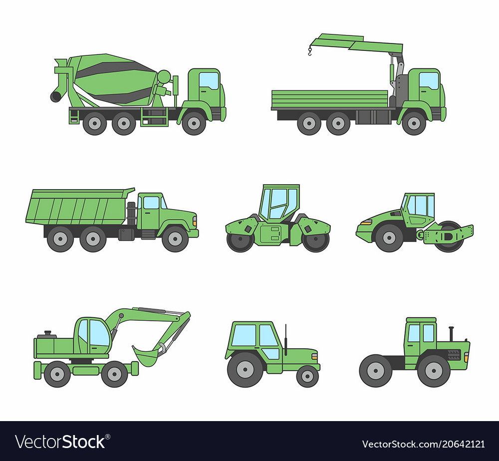 Green construction machines icons set