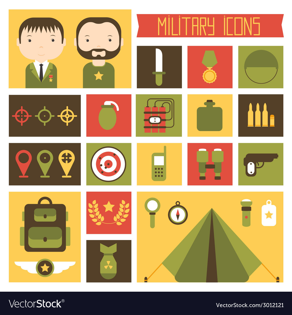 Military and war icons set Army infographic design