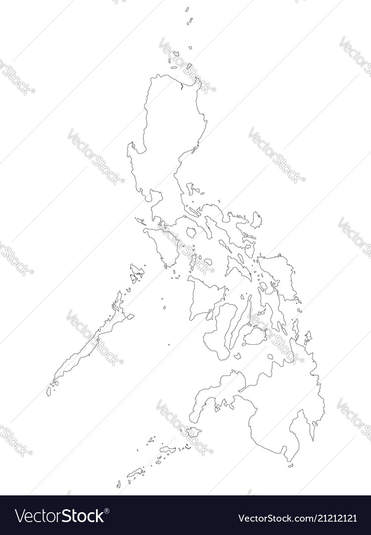 Philippines Map Black And White.Philippines Map Of Black Outline Map On White Vector Image