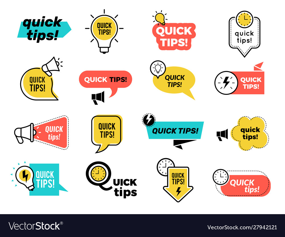 Quick tips badges graphic stickers ideas