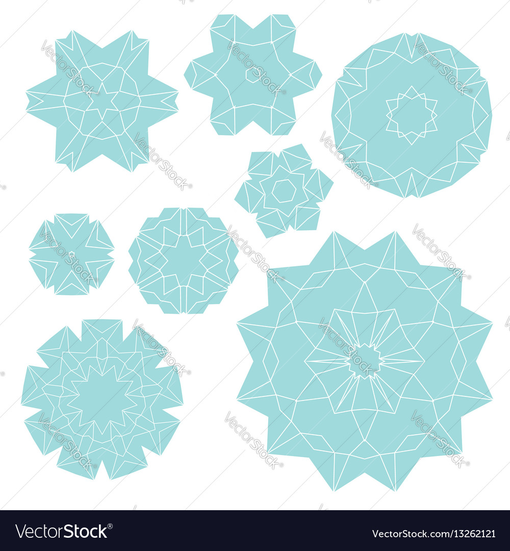 Set of elements for design stylized flowers
