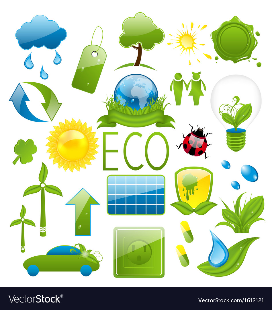 Set of green ecology icons 2
