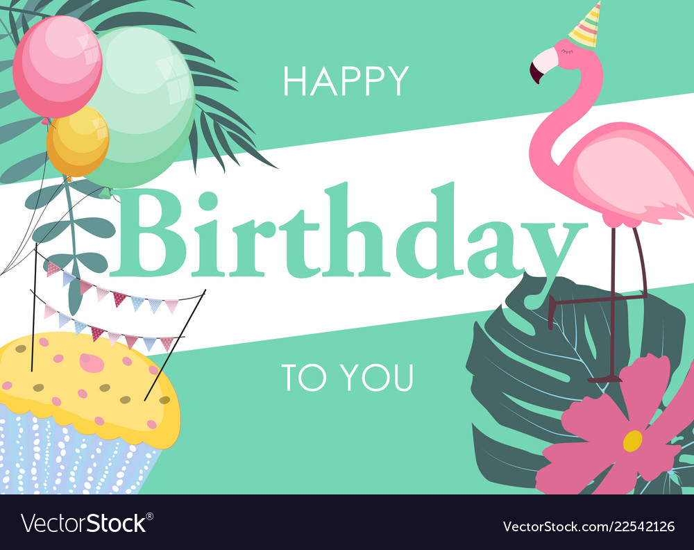 Birthday card with flamingo balloons and palm
