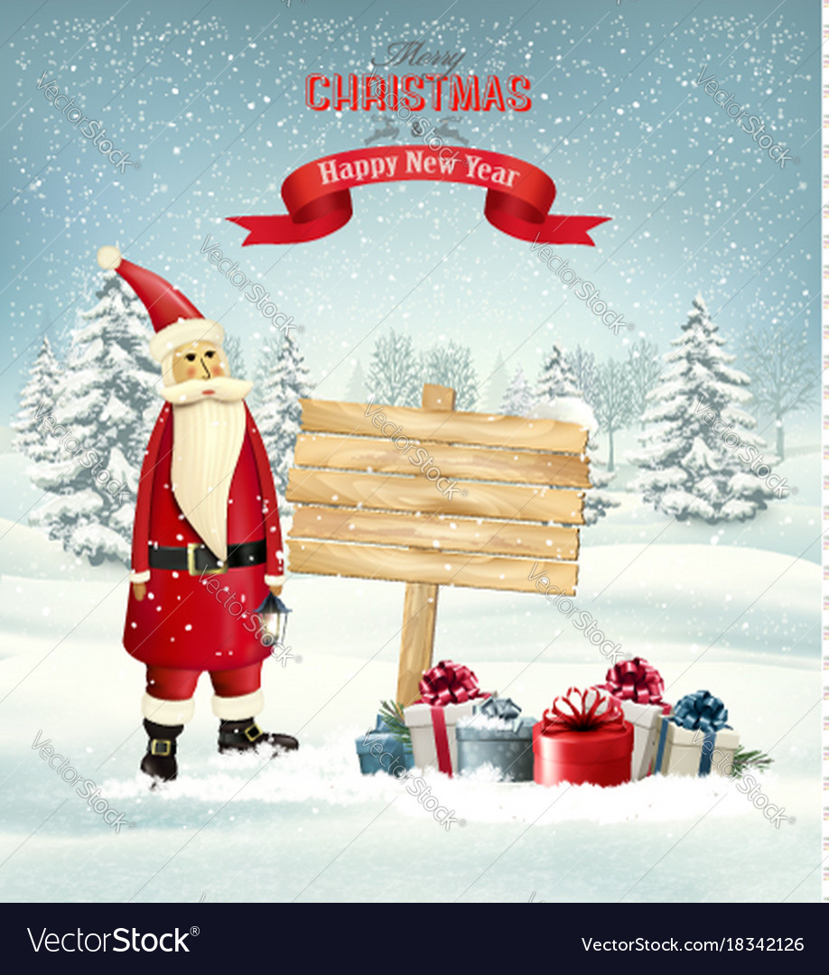 Christmas holiday background with santa claus and