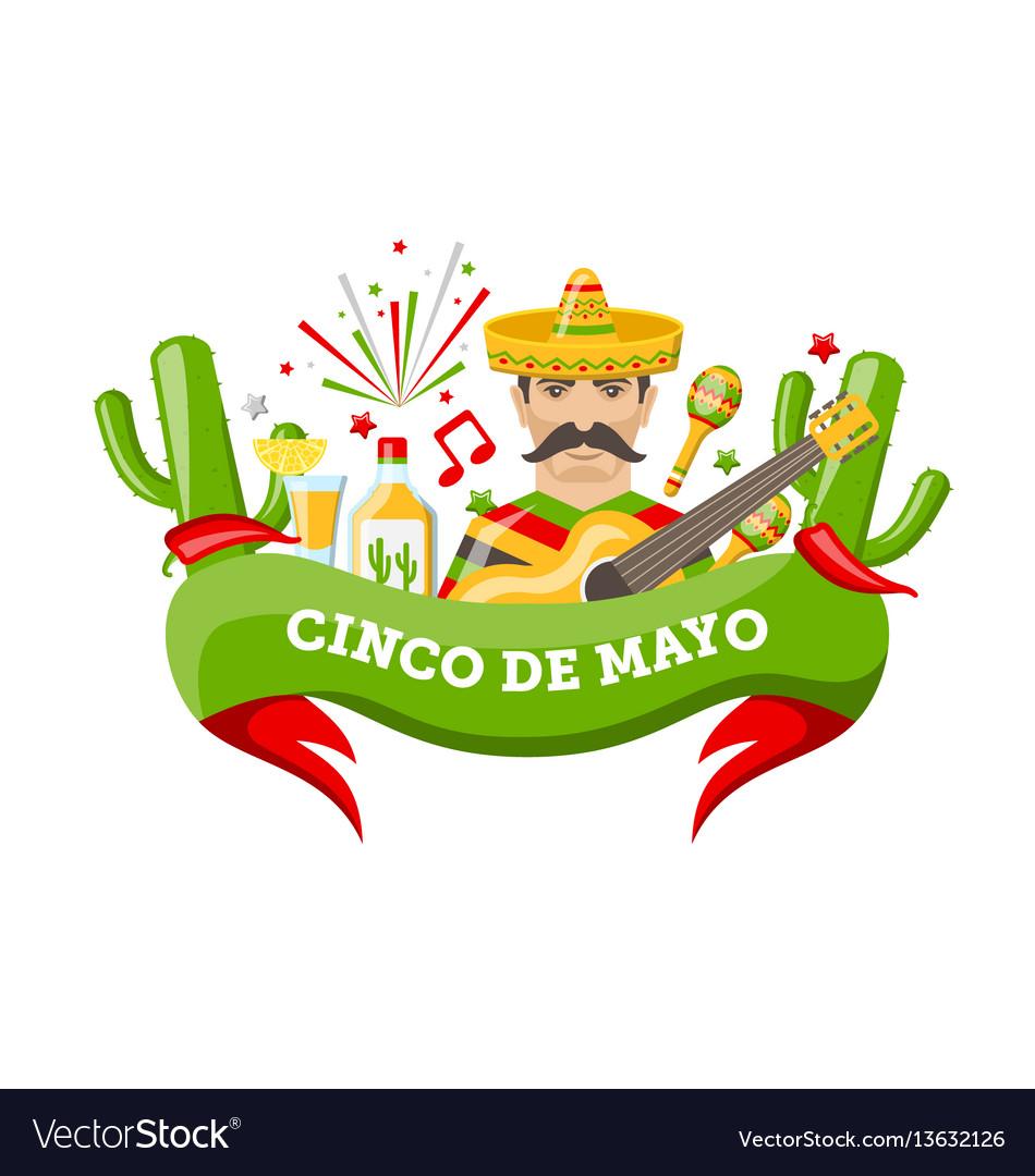 Cinco de mayo banner with mexican symbols and