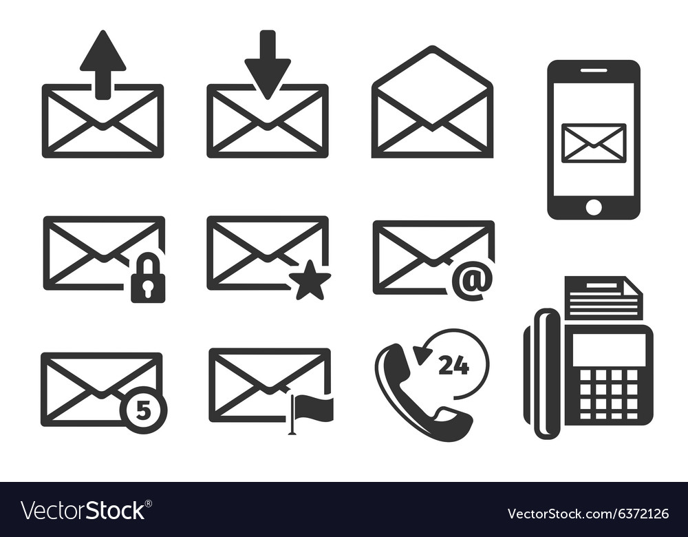 Email and phone icons set