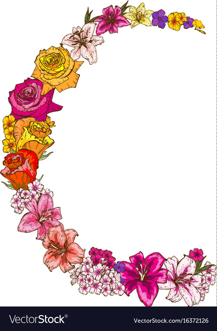 Half round floral frame of colorfull flowers Vector Image