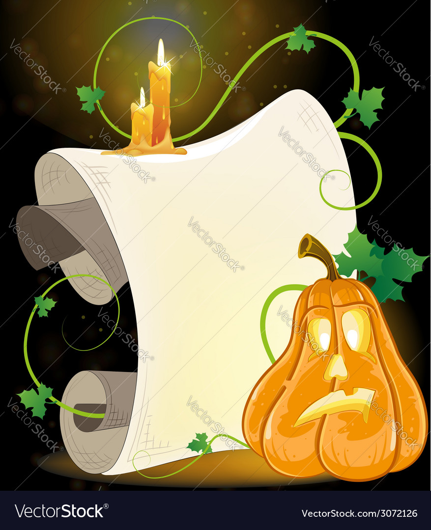 Jack o Lantern parchment and burning candles vector image