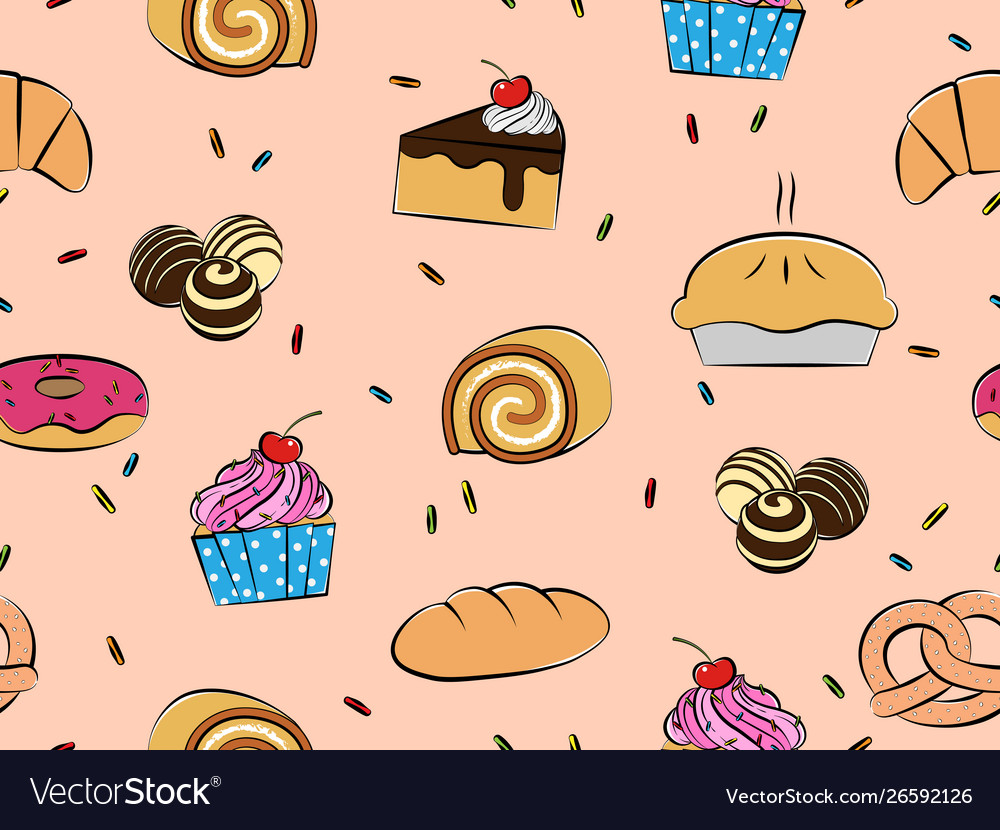 Pastries and desserts seamless pattern