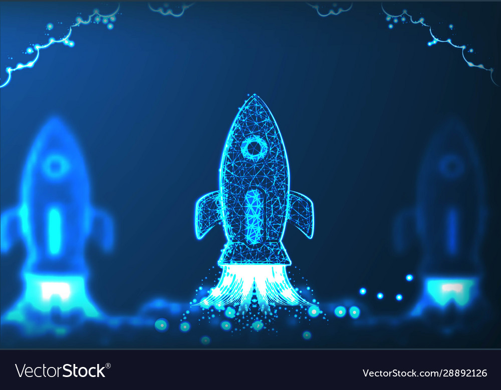 Rocket launch business startup concept low poly
