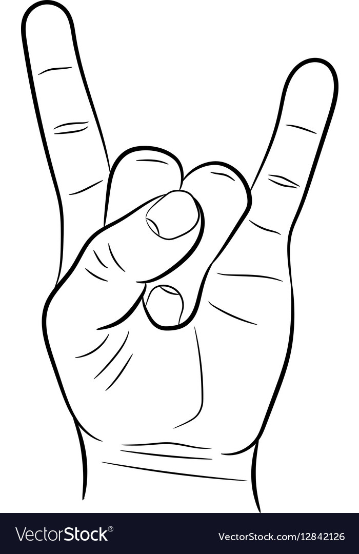 Sign hand rock roll heavy metal on white backgrou vector image