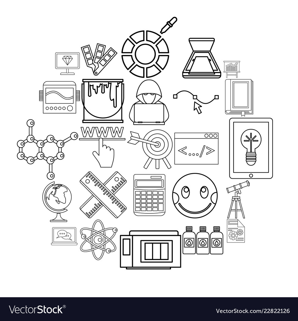 Study icons set outline style