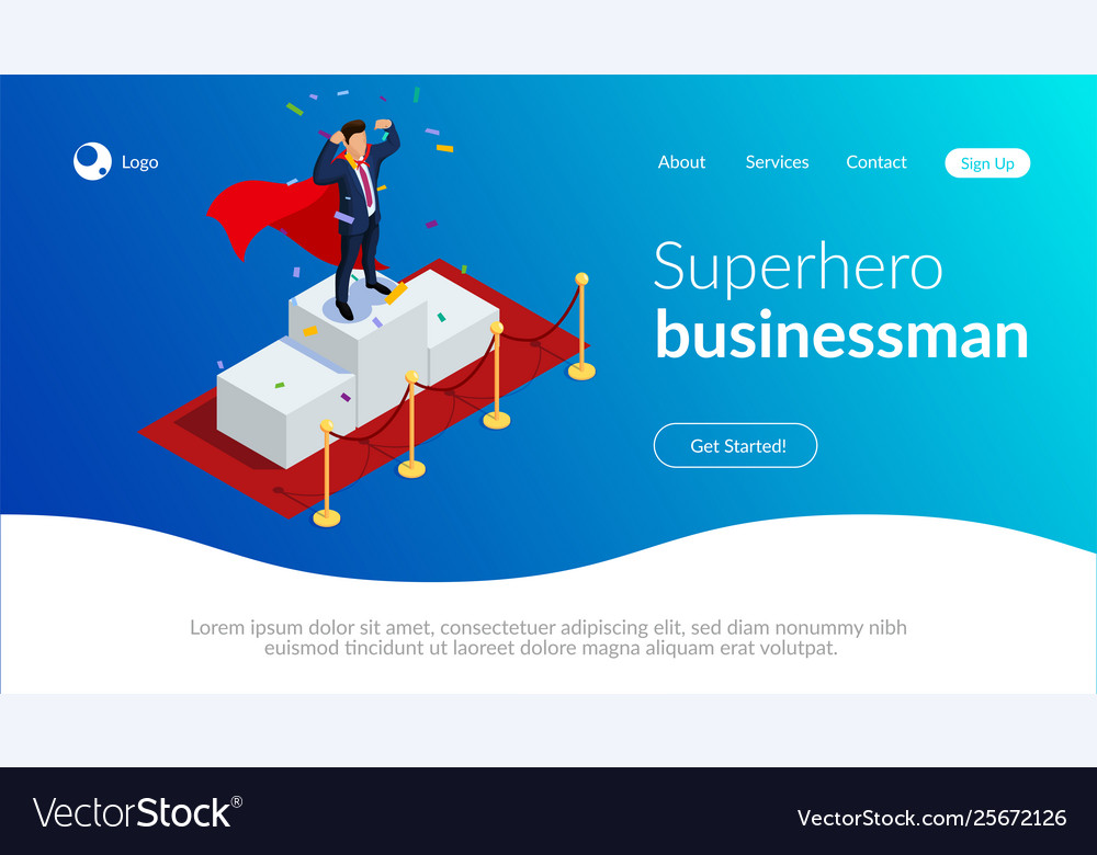 Superhero businessman or manager concept with