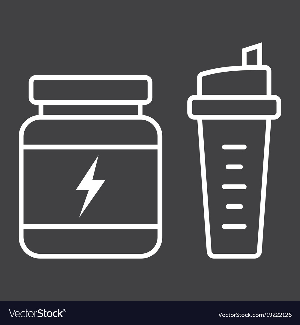 Whey protein with sports shaker line icon