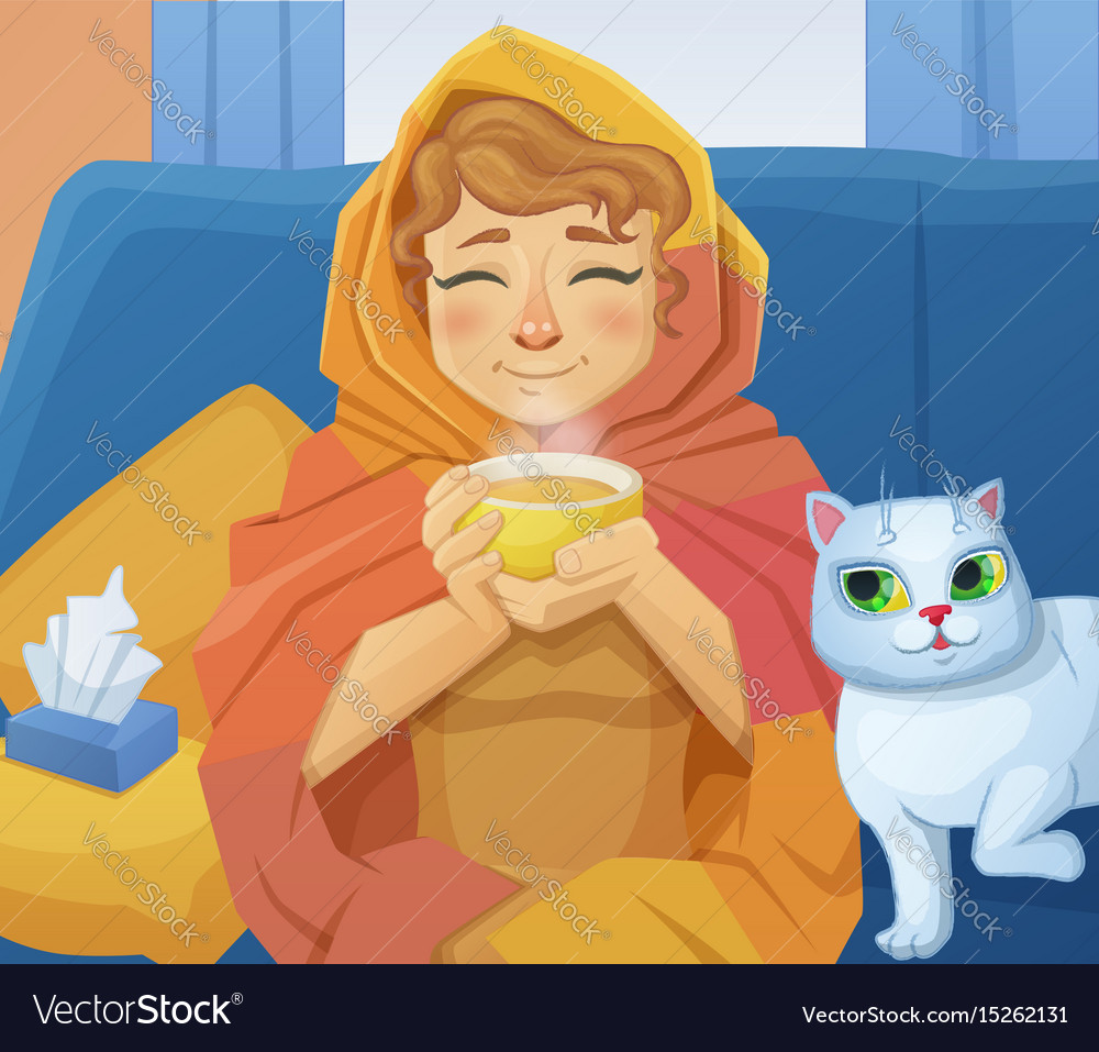 A sick cold woman f with a cup of hot tea