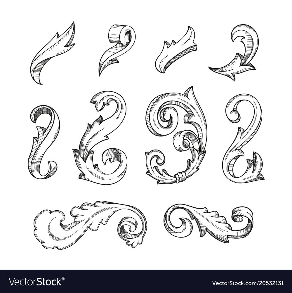Baroque swirls set