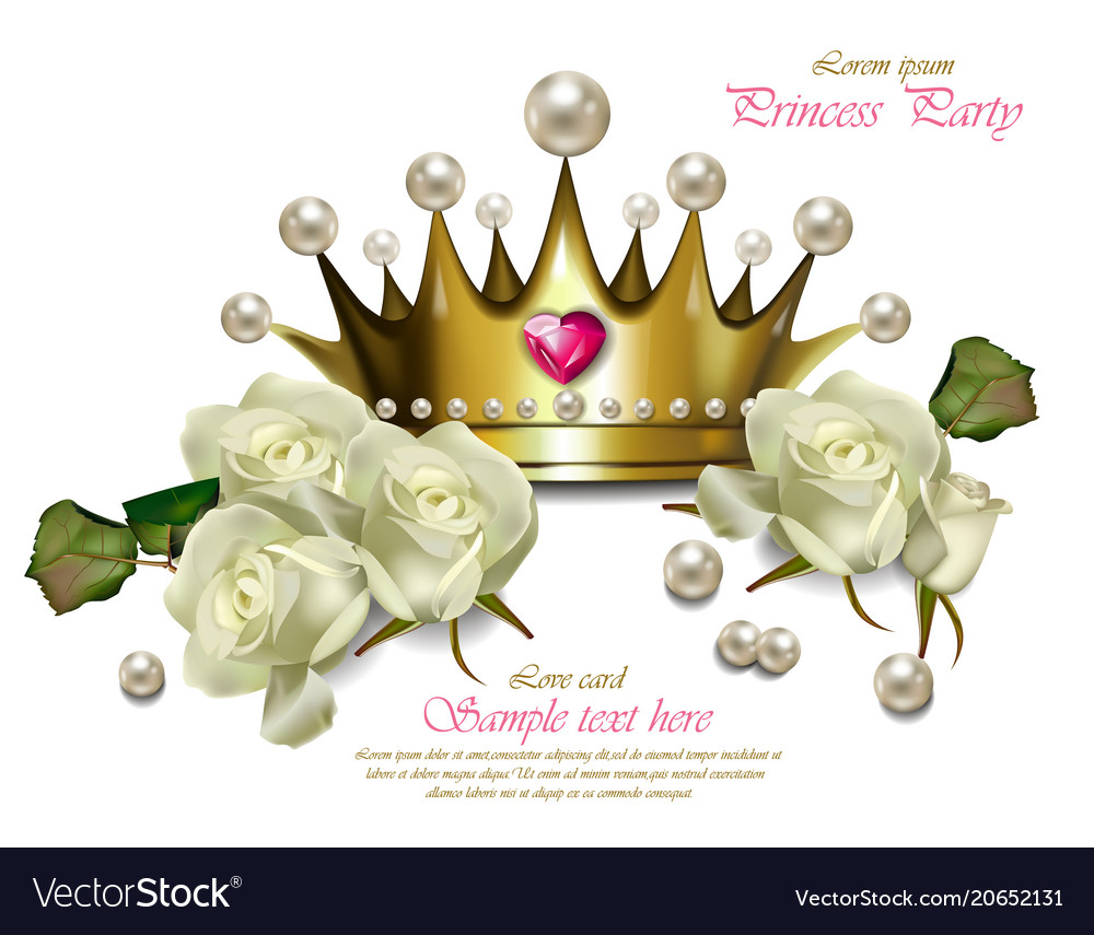 Beautiful pearl crown and white roses