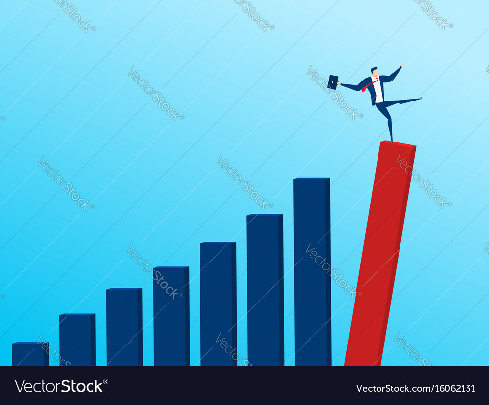 Businessman with falling down trend graph