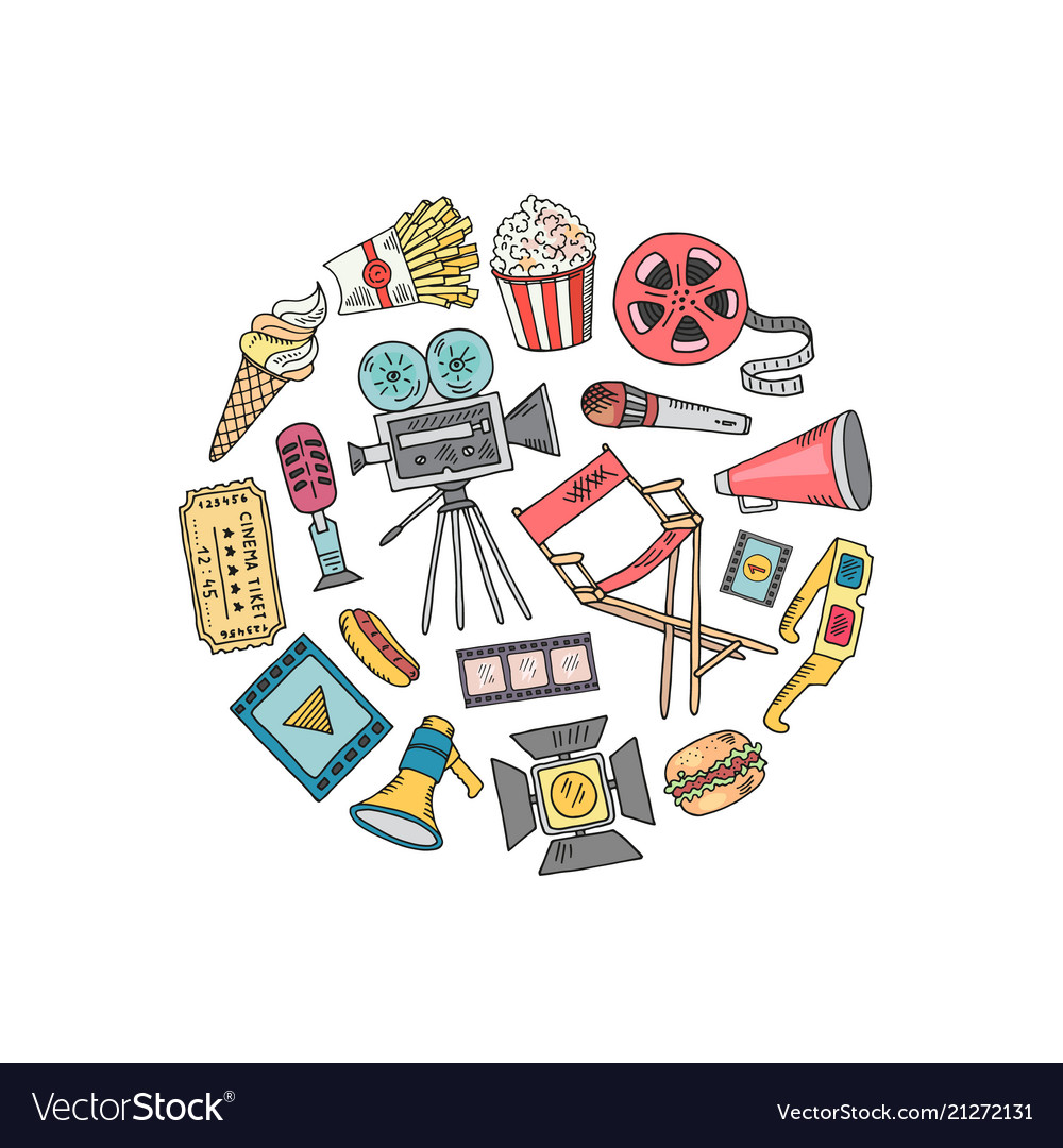 Cinema doodle icons in circle shape
