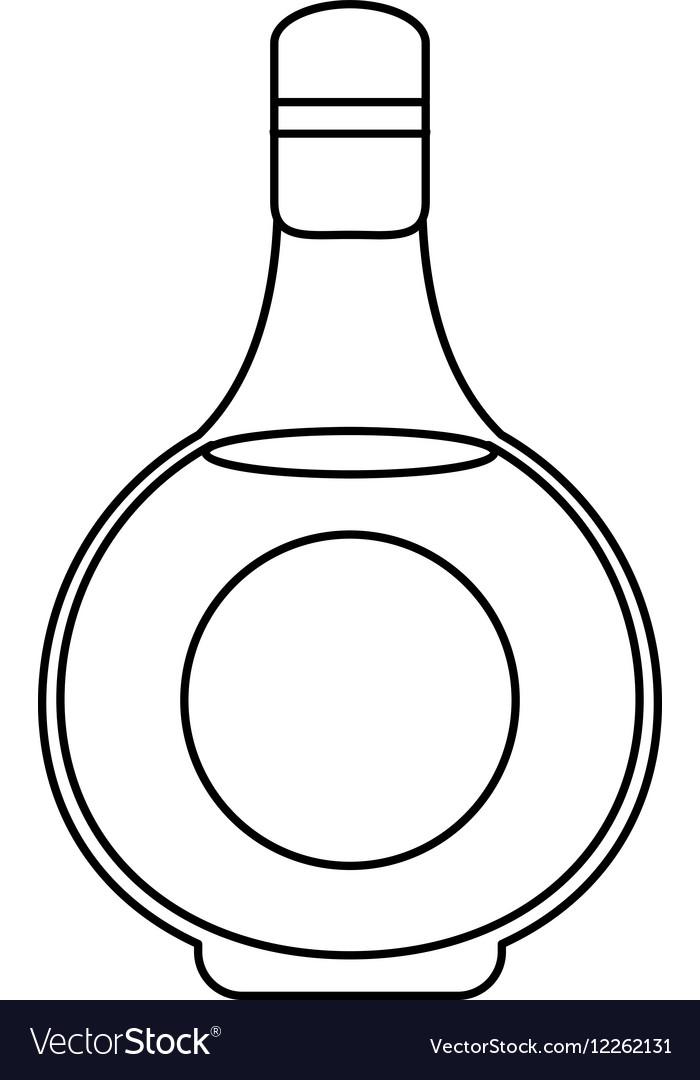 Cognac bottle alcochol drink style outline vector image