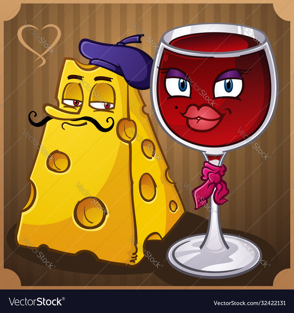 French wine and cheese cartoons