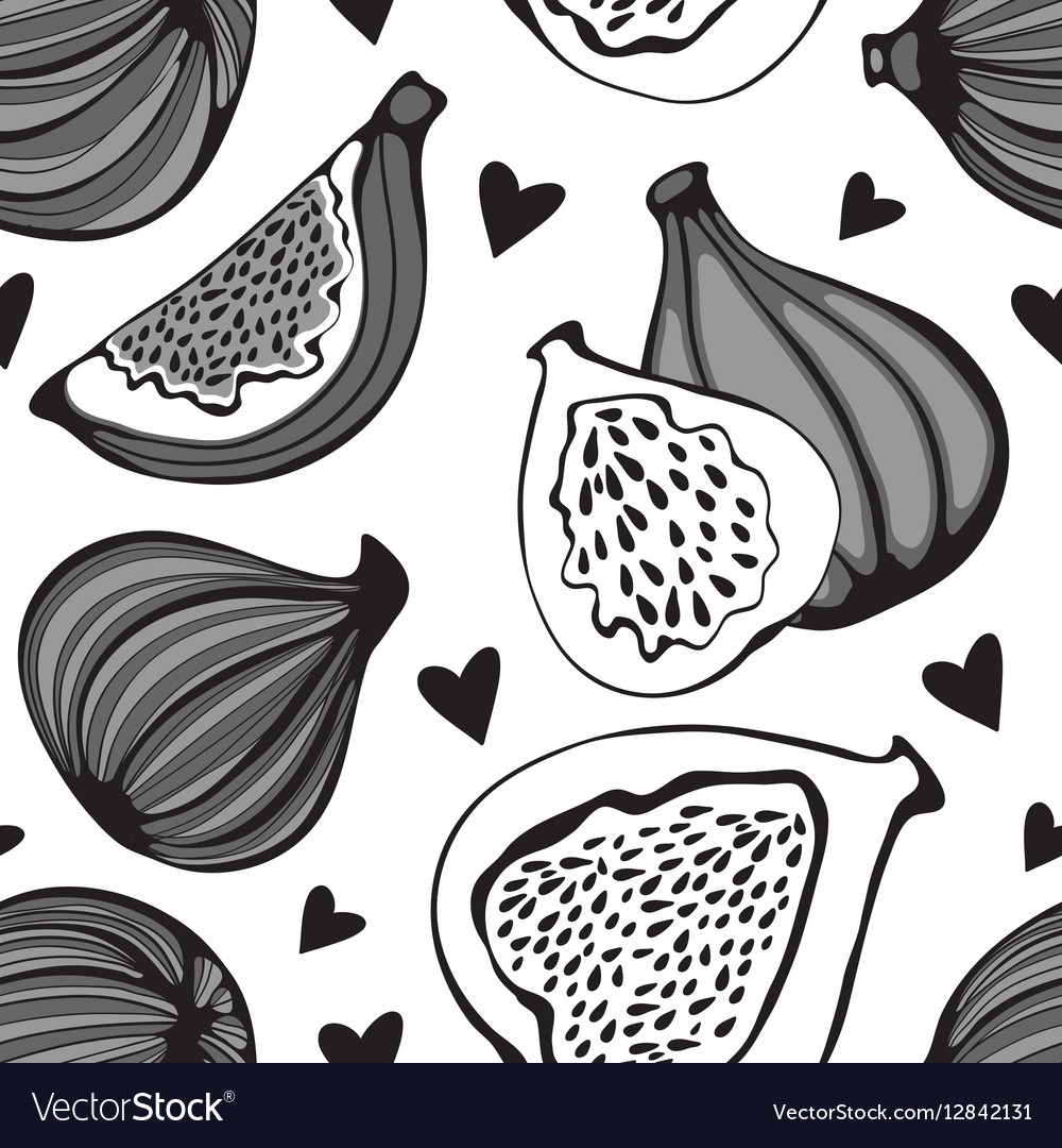 Greyscale seamless pattern with figs
