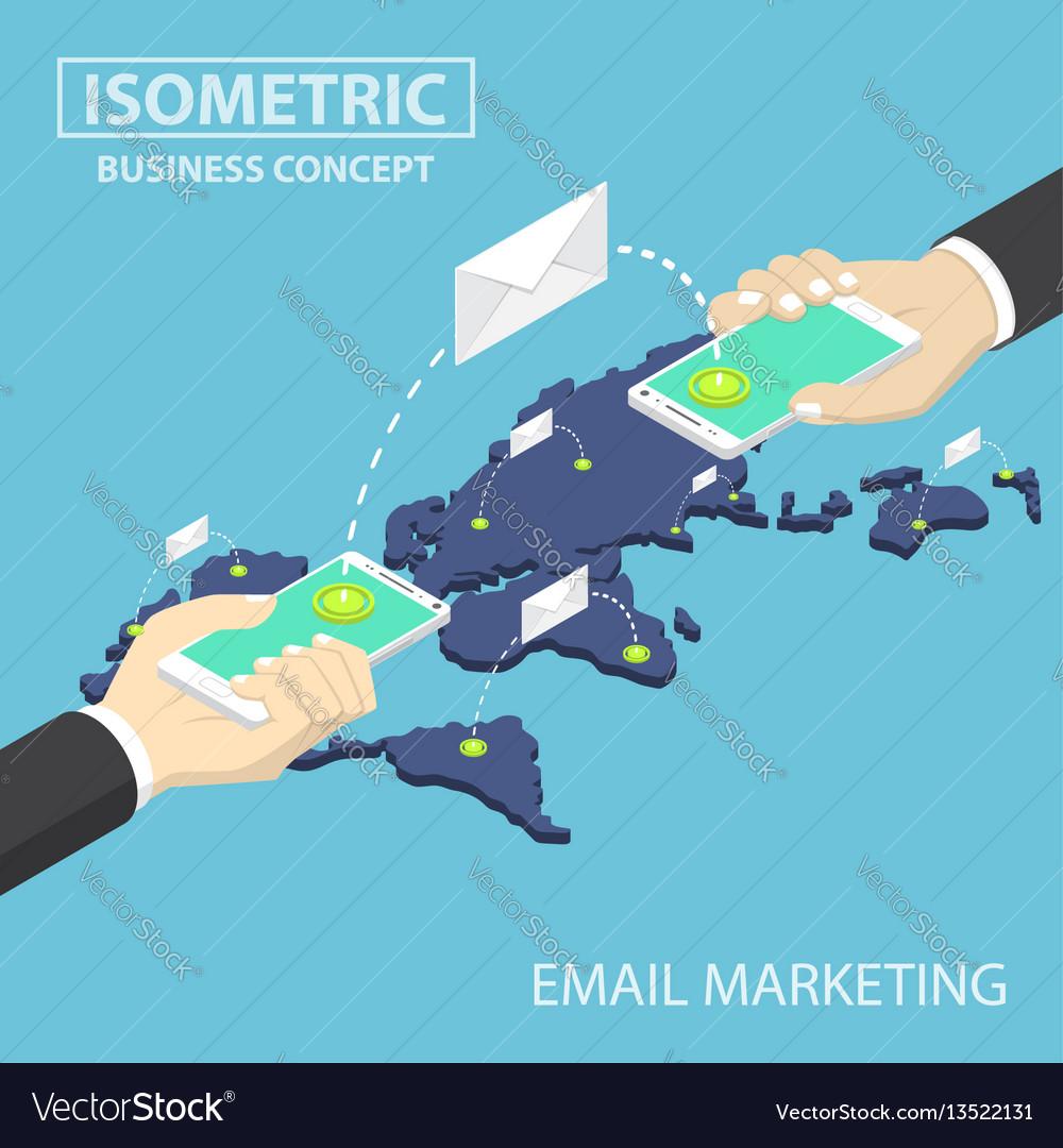 Isometric businessman hands holding smartphone vector image