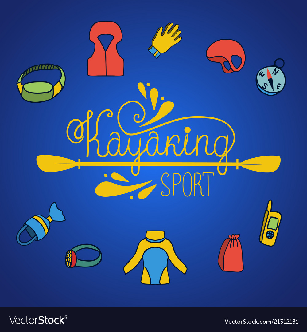 Kayaking background with icons