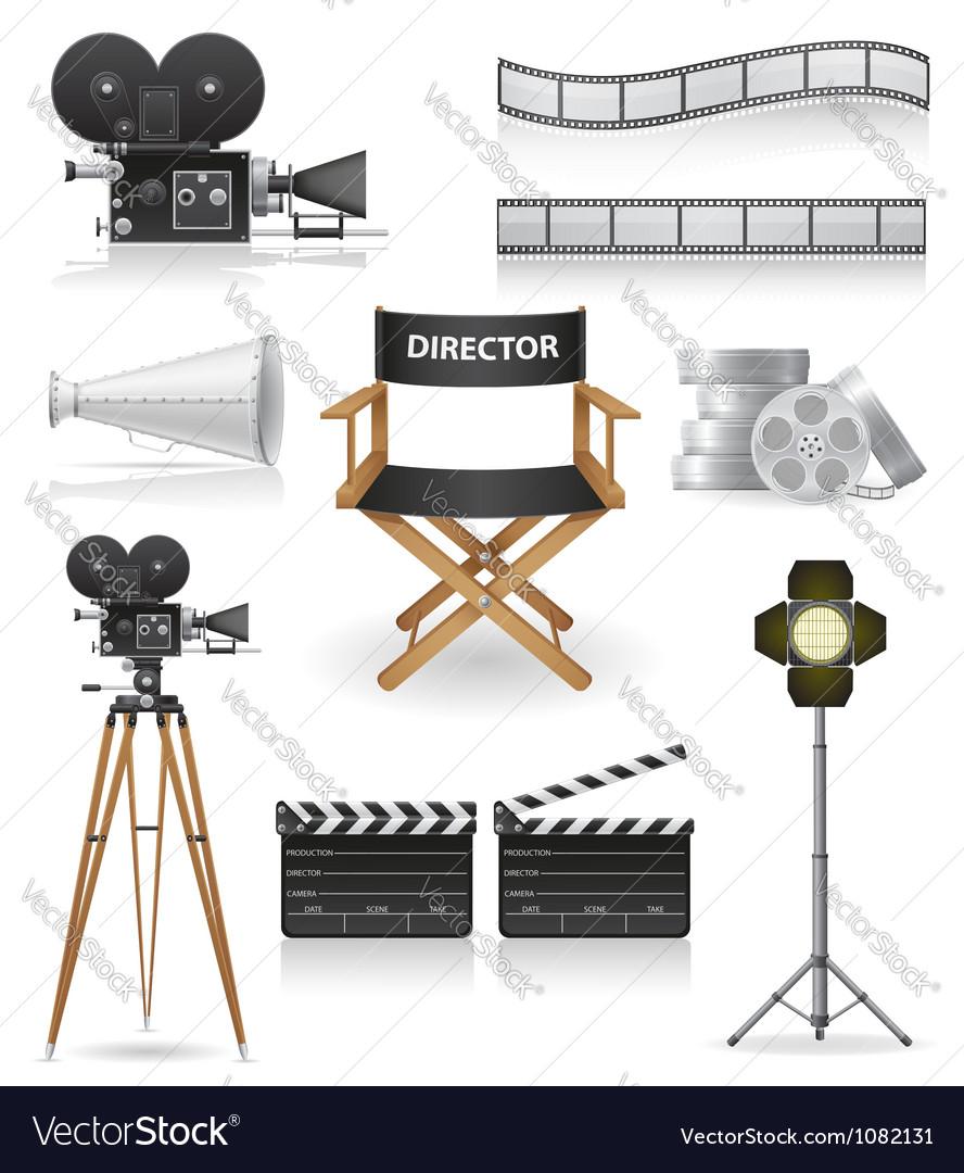 Set icons cinema 04 vector image