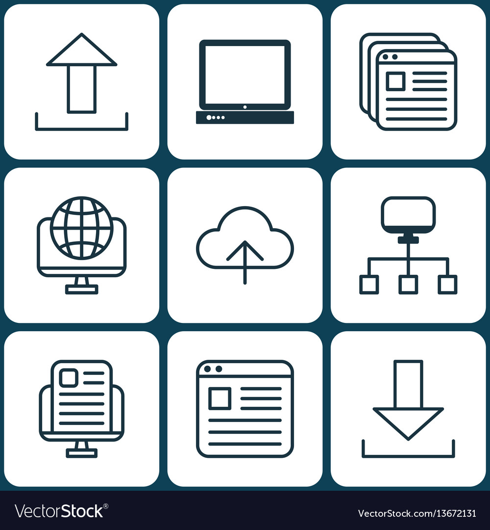Set of 9 web icons includes blog page website