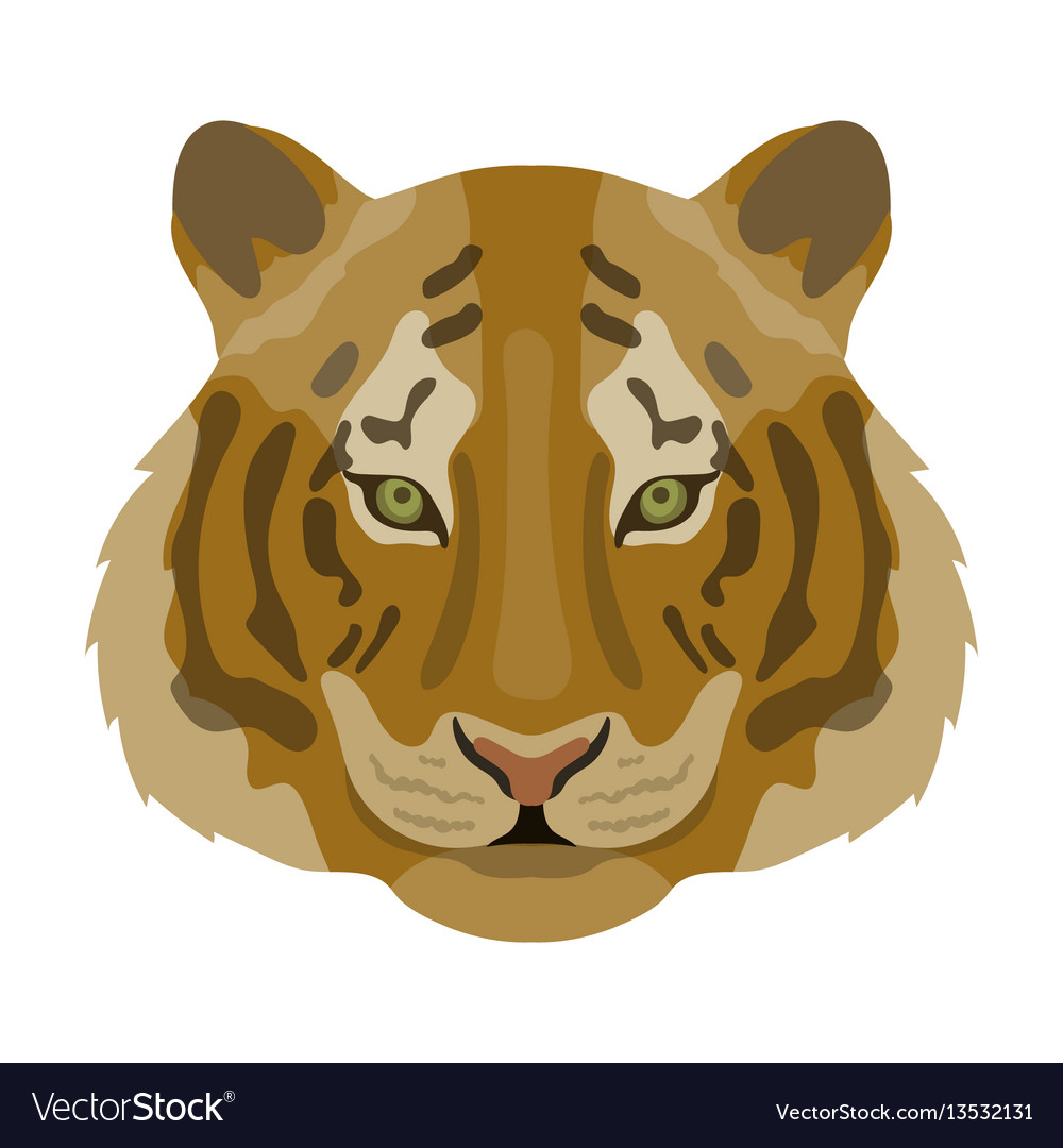 Tiger icon in cartoon style isolated on white
