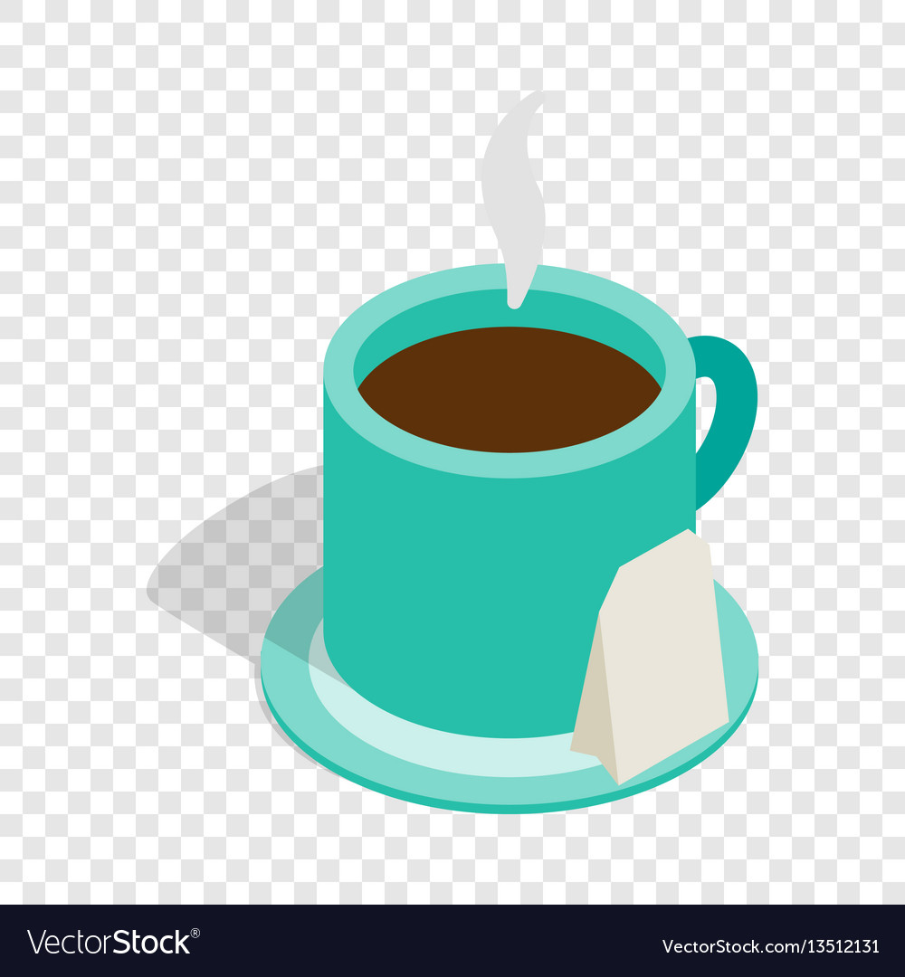 Turquoise cup of tea isometric icon