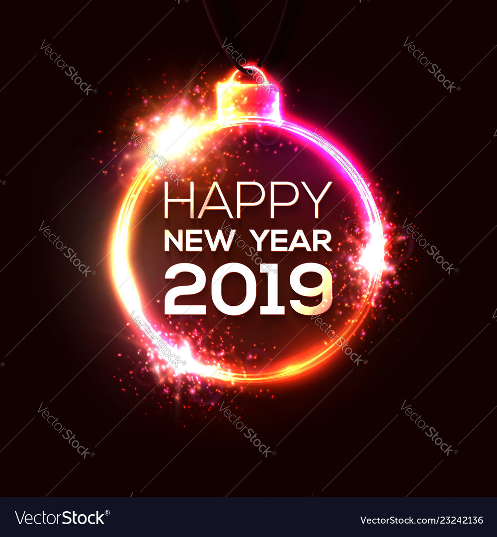 2019 happy new year background neon sign