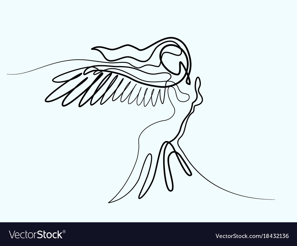 Abstract portrait of angel woman with wings vector image