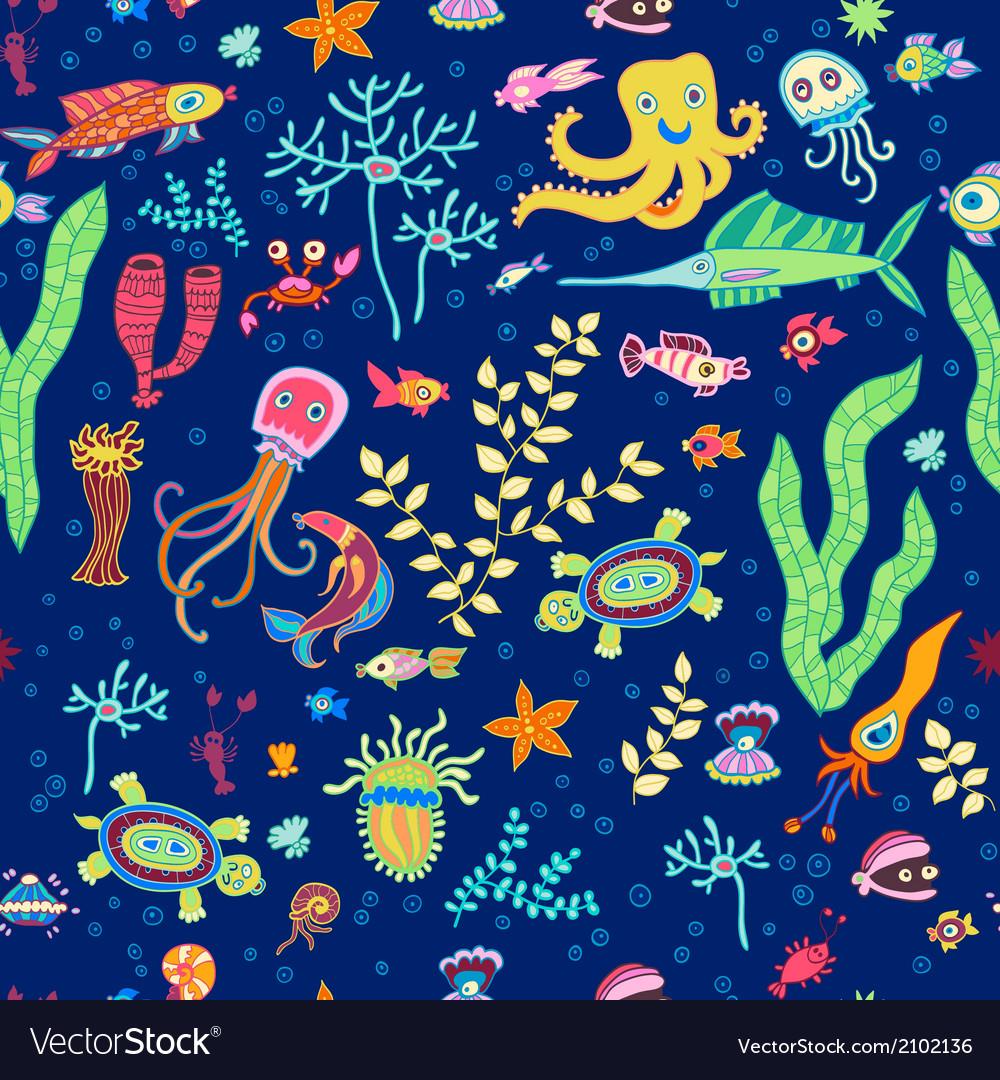 Bright concept underwater seamless pattern