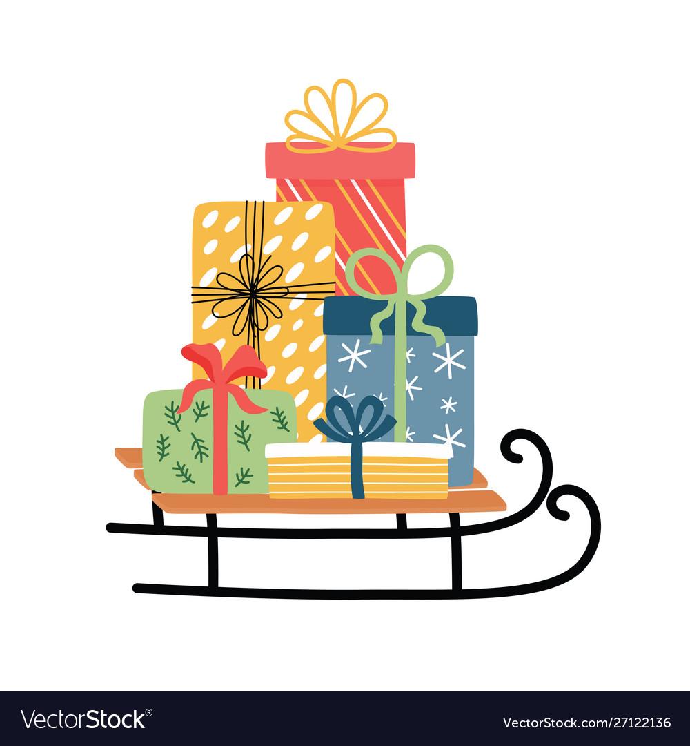 Christmas sledge with present boxes christmas and