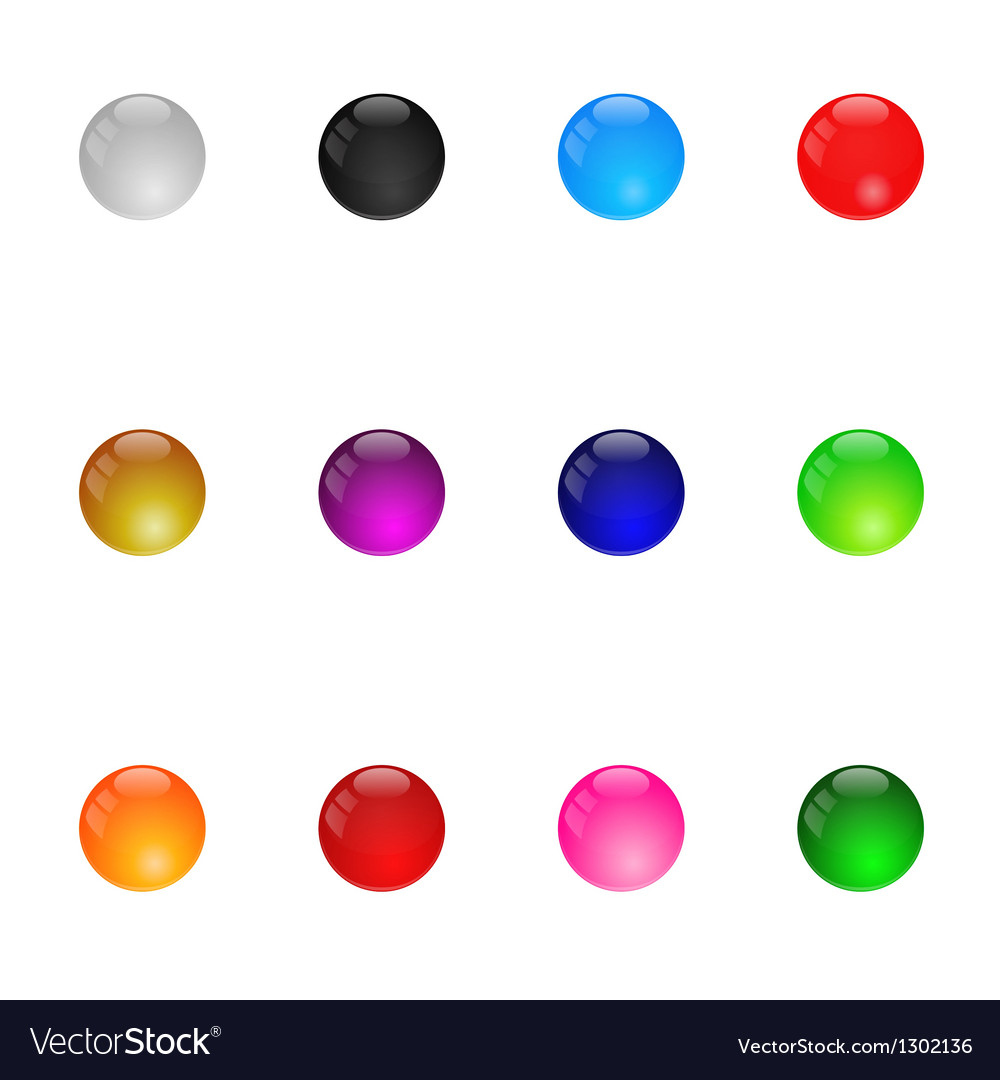 Collection Of Colorful Glossy Spheres Set 1