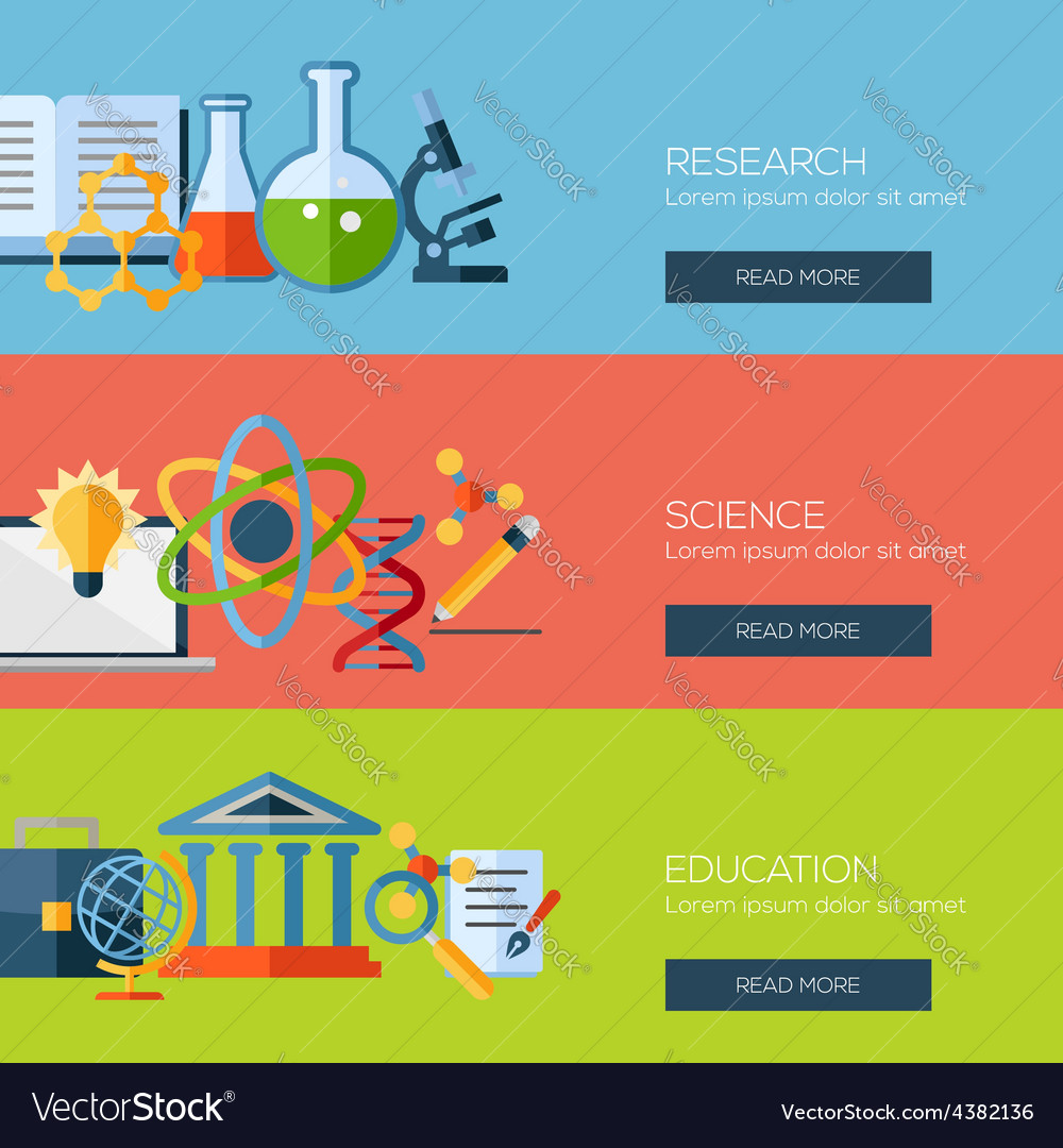 Flat design concepts for research science