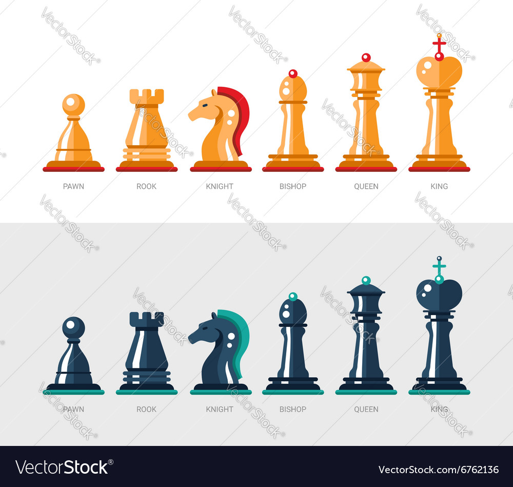 Flat design isolated named chess icons Collection