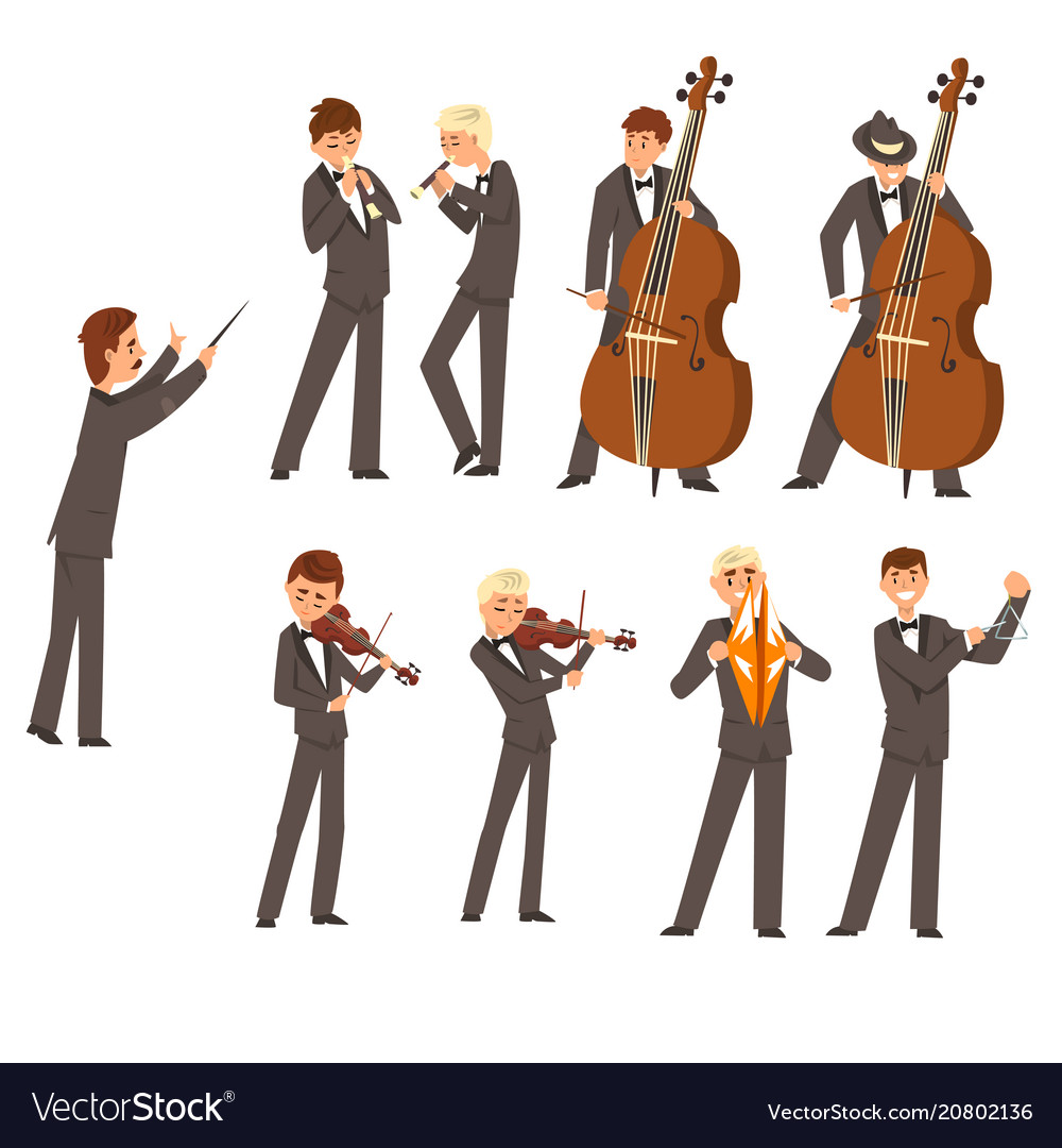 Musicians of symphonic orchestra and conductor vector image